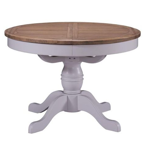 Georgia Grey Painted And Oak Dining Table – Round Throughout Most Recent Kohut 47'' Pedestal Dining Tables (View 6 of 25)