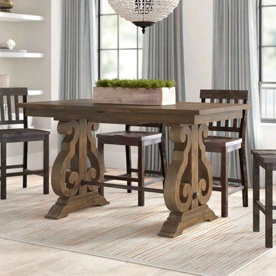 Greyleigh Filkins Counter Height Extendable Dining Table In Trendy Katarina Extendable Rubberwood Solid Wood Dining Tables (View 9 of 25)