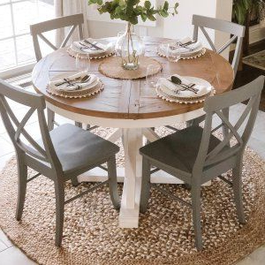 Hart Round Reclaimed Wood Pedestal Extending Dining Table With Well Known Larkin (View 6 of 25)