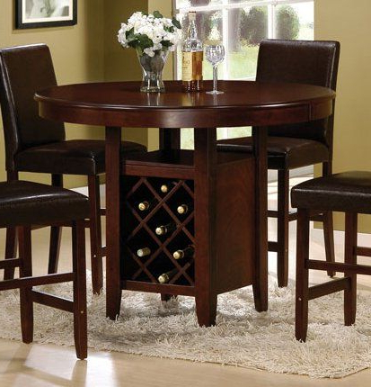 Hearne Counter Height Dining Tables Throughout Well Known Counter Height Dining Table With Wine Rack – Cherry (View 11 of 25)