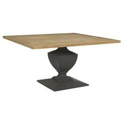 Hemmer 32'' Pedestal Dining Tables Regarding Most Up To Date Deborah French Concrete Pedestal Teak Top Outdoor Dining (View 3 of 25)