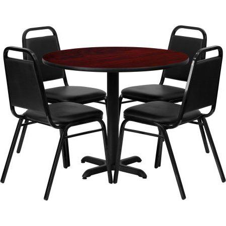 Hetton 38'' Dining Tables Regarding Trendy Flash Furniture 36'' Round Mahogany Laminate Table Set (View 4 of 25)