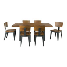 Houzz For 2020 Babbie Butterfly Leaf Pine Solid Wood Trestle Dining Tables (View 17 of 25)
