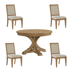 Houzz Pertaining To Gaspard Extendable Maple Solid Wood Pedestal Dining Tables (View 24 of 25)