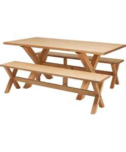 Hudson Solid Wood Dining Table And 2 Pine Benches (View 19 of 25)
