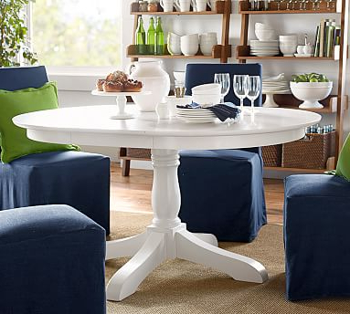 Jazmin Pedestal Dining Tables Throughout Latest Owen Extending Pedestal Dining Table, Antique White (View 20 of 25)