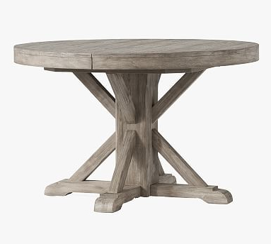 Katarina Extendable Rubberwood Solid Wood Dining Tables For Most Current Benchwright Round Pedestal Extending Dining Table – Gray (View 20 of 25)