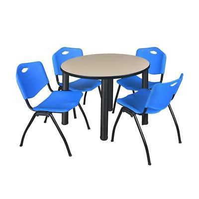 "Kee 36"" Round Breakroom Table Beige/ Black & 4 'm' Stack For Fashionable Round Breakroom Tables And Chair Set (View 8 of 25)"