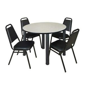 """Kee 48"""" Round Breakroom Table Maple/ Black & 4 Restaurant With Famous Round Breakroom Tables And Chair Set (View 15 of 25)"""