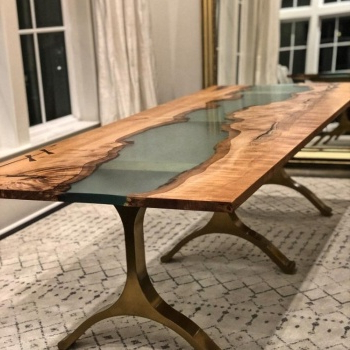 Keown 43'' Solid Wood Dining Tables With Regard To Latest Indian Antique Epoxy Resin River Solid Wood Dinning Table (View 7 of 25)
