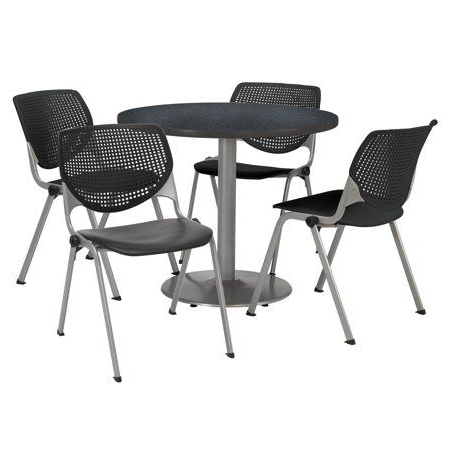 Kfi Round 36 Inch Breakroom Table, 4 Black Kool Chairs With Latest Midtown Solid Wood Breakroom Tables (View 23 of 25)