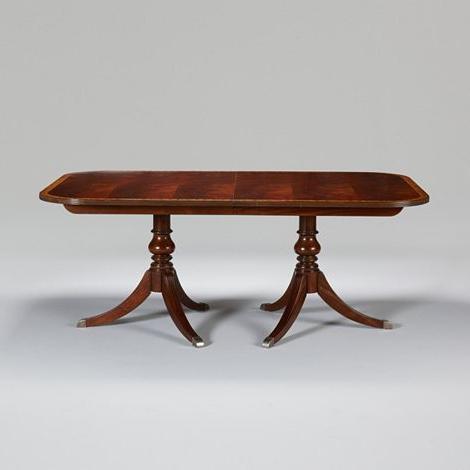 Kirt Pedestal Dining Tables Throughout Most Popular Ethan Allen Newport Abbott Double Pedestal Table (View 8 of 25)