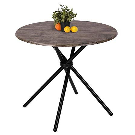 Kitchen Dining Table Industrial Brown Round Mid Century For Preferred Akito (View 16 of 25)