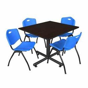 "Latest Bentham 47"" L Round Stone Breakroom Tables Regarding Regency Seating Kobe Black 48 Inch Square Breakroom Table (View 5 of 17)"