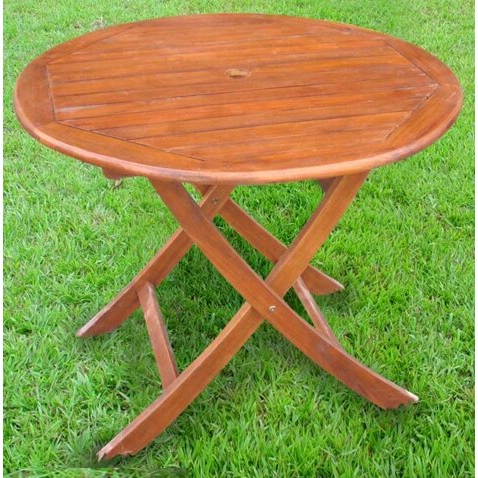 "Latest Nalan 38'' Dining Tables For International Caravan Acacia Patio 38"" Round Folding (View 3 of 25)"