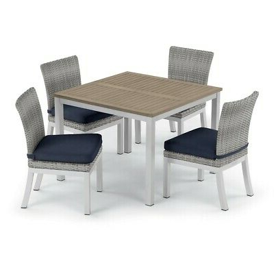 """Latest Oxford Garden Travira 5 Pc Dining, 39"""" Table, Argento Throughout Gorla 39'' Dining Tables (View 7 of 25)"""