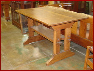 Latest Voorhees Craftsman Mission Oak Furniture – Gustav Stickley Throughout Trestle Dining Tables (View 21 of 25)