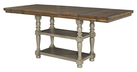 Lettner Rectangular Counter Extension Table In Gray/brown With Trendy Hemmer 32'' Pedestal Dining Tables (View 12 of 25)