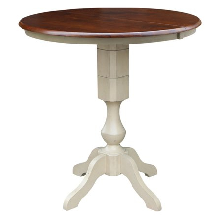 Liesel Bar Height Pedestal Dining Tables Throughout Trendy 36 Inch Round Top Pedestal Table With 12 Inch Leaf Bar (View 18 of 25)
