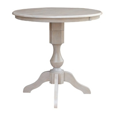 """Liesel Bar Height Pedestal Dining Tables With Most Popular 36"""" X 36"""" Solid Wood Round Pedestal Counter Height Table (View 16 of 25)"""