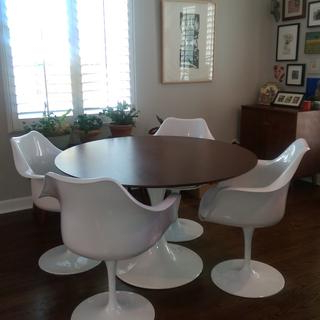 """Lippa 48"""" Round Walnut Dining Table In White (View 15 of 25)"""