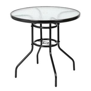 """Mcmichael 32'' Dining Tables Regarding Famous 32"""" Patio Round Table Steel Tempered Glass Furniture (View 8 of 25)"""