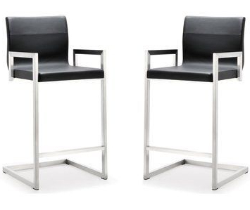 Mode Breakroom Tables Inside Most Popular Tov Furniture Milano Black Stainless Steel Counter Stool (View 6 of 25)