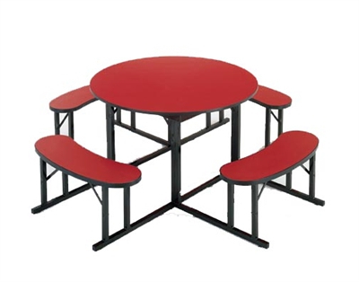 Mode Square Breakroom Tables Intended For Popular Barricks Manufacturing Round Cafeteria Table With Attached (View 4 of 25)