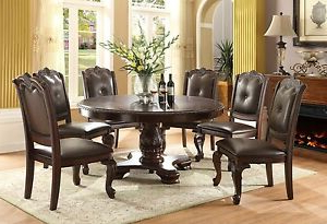 Modern Traditional Round Table W/6 Side Chairs Uph Tufted Throughout Well Known Classic Dining Tables (View 15 of 25)
