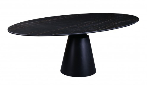 Modrest Edith – Modern Oval Black Ceramic Dining Table Throughout Widely Used Adejah 35'' Dining Tables (View 19 of 25)