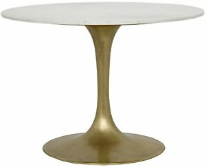 """Most Current 40"""" W Dining Table Solid White Marble Top Antiwue Brass Intended For Nashville 40'' Pedestal Dining Tables (View 7 of 25)"""
