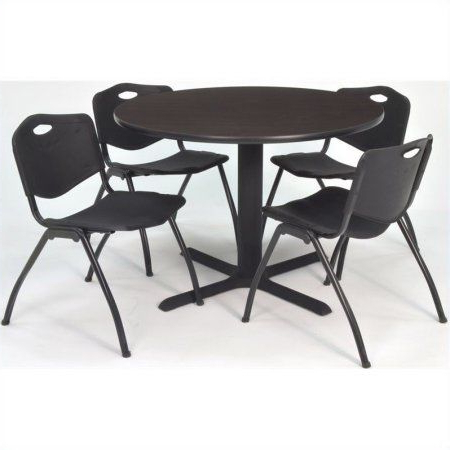 Most Current Cain 36 Inch Mocha Walnut Round Breakroom Table And 4 'm For Round Breakroom Tables And Chair Set (View 22 of 25)
