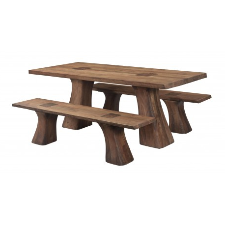 Most Current Folcroft Acacia Solid Wood Dining Tables Inside Rodin – Contemporary Solid Acacia Wood Dining Table Set (View 18 of 25)