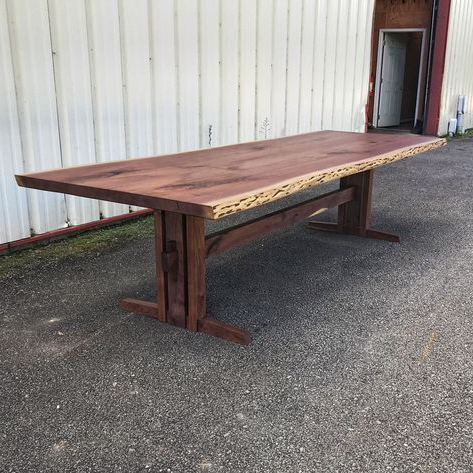 Most Current Live Edge Walnut Dining Table With One Of Our Trestle Base Inside Alexxes 38'' Trestle Dining Tables (View 14 of 25)