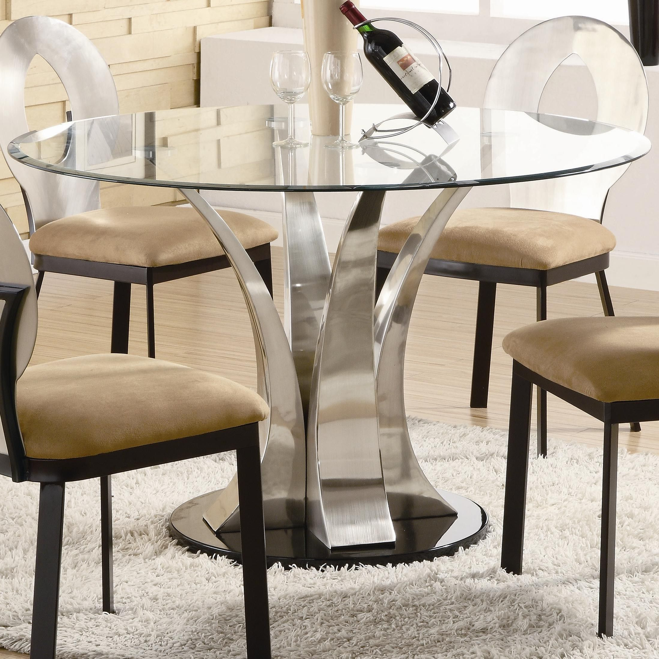 Most Current Round Glass Top Dining Table Wood Base (View 20 of 25)