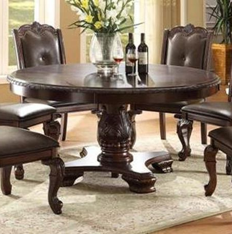 Most Current Steven 39'' Dining Tables For Crown Mark Kiera Round Dining Table In Rich Brown 2150t (View 20 of 25)