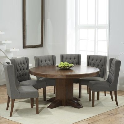 Most Current Trina Dark Solid Oak Round Dining Table With 6 Sophia Grey For Menifee 36'' Dining Tables (View 24 of 25)