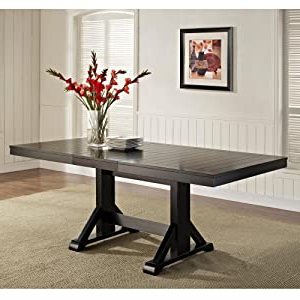 """Most Popular Amazon – We Furniture 77"""" Solid Wood Black Dining Inside Bradly Extendable Solid Wood Dining Tables (View 16 of 25)"""