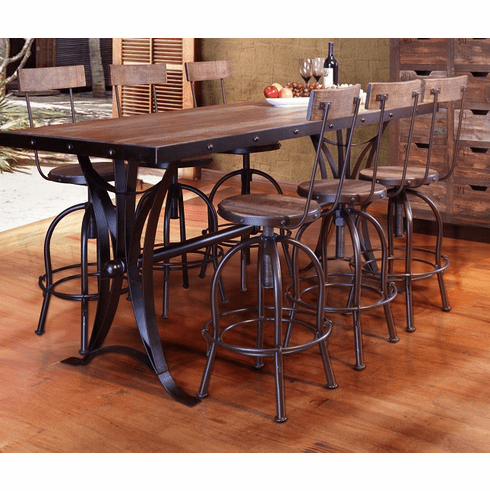 Most Popular Antique Multicolor Counter Height Dining Table With Iron Base Throughout Liesel Bar Height Pedestal Dining Tables (View 12 of 25)