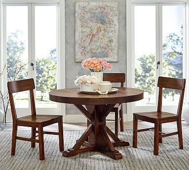 Most Popular Corvena 48'' Pedestal Dining Tables Throughout Benchwright Round Pedestal Extending Dining Table, Rustic (View 23 of 25)
