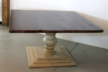 Most Popular Pedestal Dining Tables Inside Handmade Square Farm Table With Tiered Tuscany Pedestal Base (View 22 of 25)