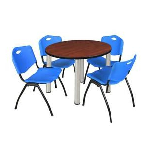 """Most Popular Round Breakroom Tables And Chair Set Throughout Kee 42"""" Round Breakroom Table Cherry/ Chrome & 4 'm (View 11 of 25)"""