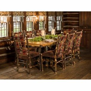 """Most Popular Rustic Hickory Trestle Style 72"""" Dining Table With 8 For 72"""" L Breakroom Tables And Chair Set (View 14 of 25)"""