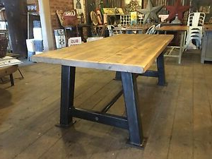 Most Popular Rustic Industrial Reclaimed Metal 7ft Box A Frame Dining In Dellaney 35'' Iron Dining Tables (View 11 of 25)