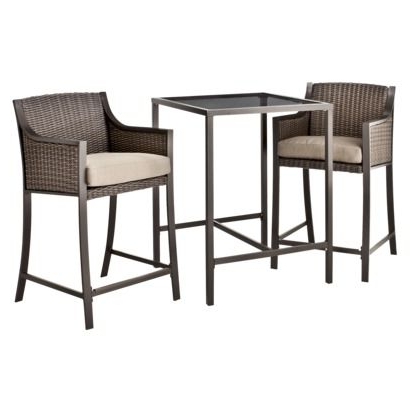 Most Recent Deonte 38'' Iron Dining Tables Within Threshold™ Casetta 3 Piece Wicker Patio Bar Height Bistro (View 3 of 25)
