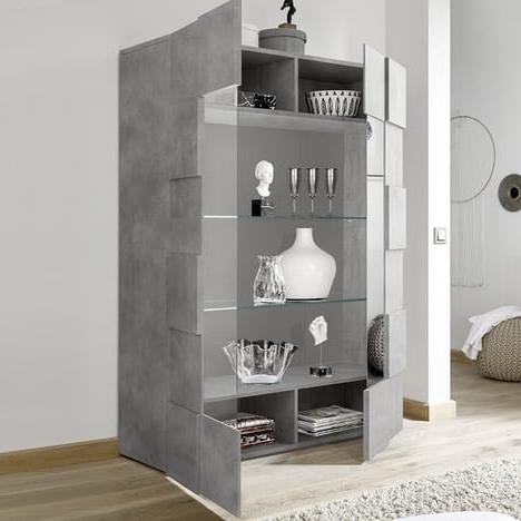 "Most Recent Mode 72"" L Breakroom Tables Throughout Vaisselier Led Design Gris Effet Béton Dominos 4 Kasalinea (View 14 of 25)"