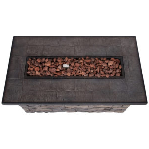 """Most Recent Sevilla Rectangular Outdoor Propane Gas Fire Pit Table In Elite Rectangle 48"""" L X 24"""" W Tables (View 25 of 25)"""