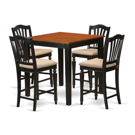 Most Recent Wes Counter Height Rubberwood Solid Wood Dining Tables Within Black Solid Rubberwood 5 Piece Counter Height Pub Set (View 25 of 25)