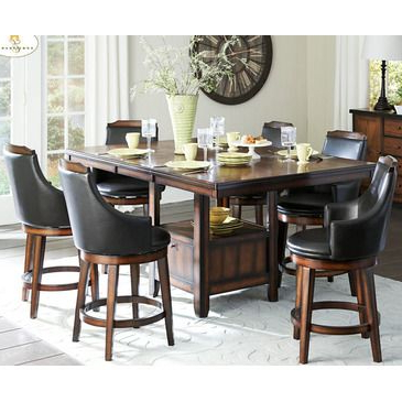 Most Recently Released Andreniki Bar Height Pedestal Dining Tables Throughout Homelegance Bayshore 7 Piece Counter Height Table Set W (View 2 of 25)
