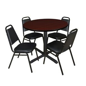 """Most Recently Released Cain 36"""" Round Breakroom Table Mahogany & 4 Restaurant Regarding Round Breakroom Tables And Chair Set (View 6 of 25)"""